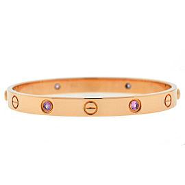 Cartier 18k Rose Gold Pink Sapphire LOVE Bracelet Size 17 OLD STYLE