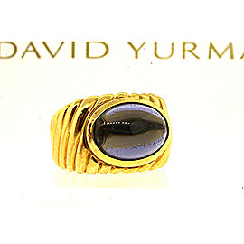David Yurman Iolite Cabochon Ring 18k Yellow Gold Cable Classic sz 6