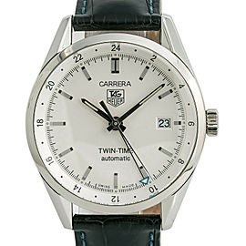 Tag Heuer Carrera Twin-Time WV2116-0 Mens Automatic Watch Silver Dial SS 39mm