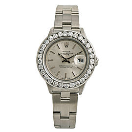 Rolex Date 69190 Womens Automatic Watch 3.10CT Diamond Bezel Silver Dial 26mm
