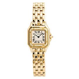 Cartier Panthere 1280 Womens Quartz Watch Factory Diamond Bezel 18K Gold 22mm