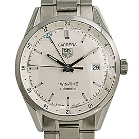 Tag Heuer Carrera Caliber 7 Twin-Time WV2116-0 Mens Automatic Watch SS 36mm