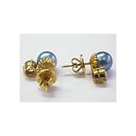 18Kt Blue Pearl & NATURAL Diamond Stud Earrings SOLID Yellow Gold 9mm 1.40CT