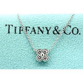 Tiffany & Co. Diamond Lace 4 Stone Pendant Necklace Flower Bezel