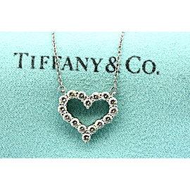 ea8b787af Tiffany & Co. Heart Diamond Pendant Necklace Platinum .80ct Medium Retired  Rare