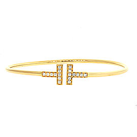 Tiffany & Co. Diamond T-wire Bracelet 18k Rose Gold Medium Size