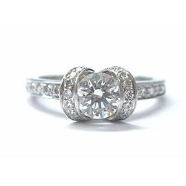 Tiffany & Co Platinum Ribbon Diamond Engagement Ring .74Ct+.30Ct E-VVS1
