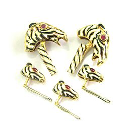 David Webb 18Kt Ruby Enamel Horse Cufflinks & Shirt Stud Set