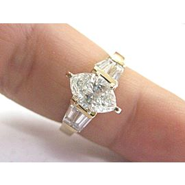 Fine Marquise & Baguette Diamond Solitaire W Accent Engagement Ring YG 2.04Ct
