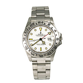 Rolex Explorer II 16550 Vintage Mens Automatic Watch White Dial Patina Index 40m