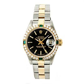 Rolex Datejust 69173 Automatic Womens Watch 18k Two Tone 1CT Diamond Bezel 26mm