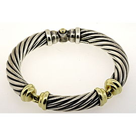 David Yurman Bracelet 10mm Cable 3 Part 14k Gold Station Bangle