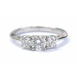 Tiffany & Co. Platinum Round Cut Three-Stone Diamond Engagement Ring .76CT G-VVS1