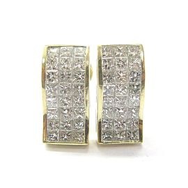 18Kt Princess Cut Invisible NATURAL Diamond Earrings SOLID Yellow Gold 5.28CT