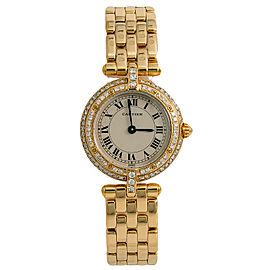 Cartier Panthere Round 8057916 Womens Quartz Watch Factory Diamond 18K Gold 24mm