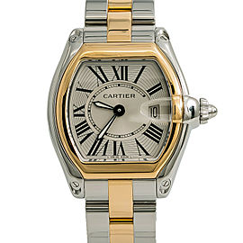 Cartier Roadster 2675 W62031Y4 Women Watch Quartz 18k Two Tone Silver Dial 30mm
