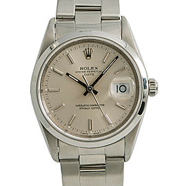 Rolex Oyster Perpetual Date 15200 Mens Automatic Watch Silver Dial SS 34mm