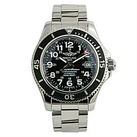 Breitling Superocean II A17365 Mens Automatic Watch Black Dial SS 42mm