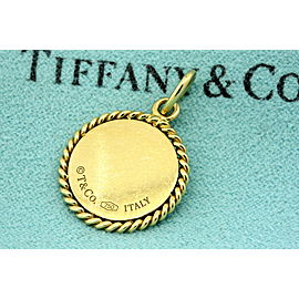 Tiffany & Co. New York 18k Gold Disc Twist Pendant Charm Round Necklace