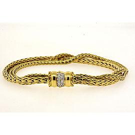 "John Hardy 18k Gold 3 Classic Wheat Chain Diamond Bracelet RARE 7"" Braided"