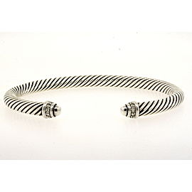 David Yurman Sterling Silver Diamond Bracelet Dome Cuff 5mm Cable Classic
