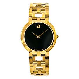 Movado Classic 88 G1 1899 Mens Quartz Watch Black Dial Gold Plated 35mm