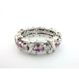 Tiffany & Co Platinum Jean Schlumberger 16 Stone Diamond Pink Sapphire Size 5