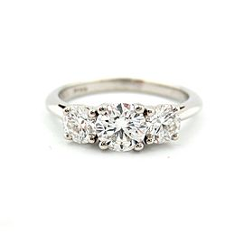Tiffany & Co Platinum Three 3-Stone Diamond Engagement Ring 1.15CT H-VVS2