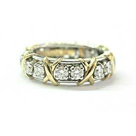Tiffany & Co Platinum/18Kt Schlumberger 16-Stone Diamond Ring 1.14Ct Size 6