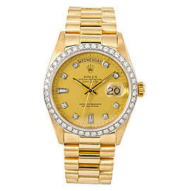 Rolex Day-Date 18048 Mens Automatic Watch Champagne Dial 2.75CT 18K YG 36mm