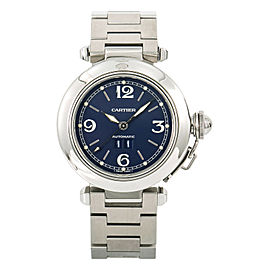 Cartier Pasha 2475 Big Date Unisex Automatic Watch Blue Dial Stainless 35mm