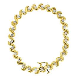 14k Yellow Gold Swirl Style Diamond Bracelet Approx 0.42 TCW