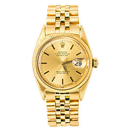 Rolex Datejust 6605 Vintage Mens Automatic Watch Champagne Dial 18K Jubilee 36mm