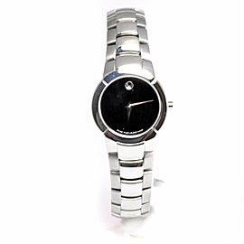 Movado Museum 84-A1-1842 Women's Quartz Watch Black Dial Stainless Steel 25mm