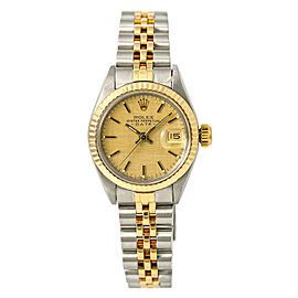 Rolex Date 6917 Women's Automatic Watch 18k Gold Champagne Dial 26mm