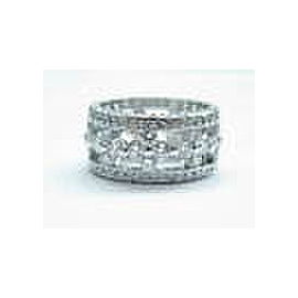 WIDE Floral Natural Round Diamond White Gold Eternity Band 18Kt 3.38Ct Size 6