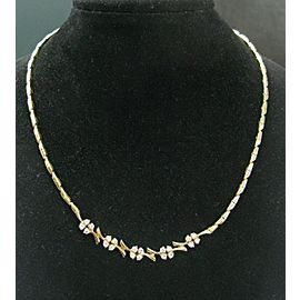"""Floral Natural Diamond Yellow Gold Necklace & Earrings 14KT 17"""" 1.80Ct 36-Stones"""