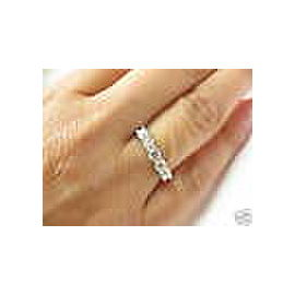 Five Stone Round Diamond Solid White Gold Anniversary Band Ring .72Ct 14Kt H-VS2