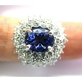Natural Oval Tanzanite & Round Diamond BIG White Gold Cocktail Jewelry Ring AAAA