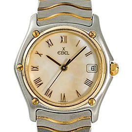 Ebel Classic Wave 183908 Womens Quartz Watch Mop Dial 18k Two Tone 26mm