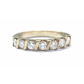 Natural Round Cut Diamond 7-Stone Bar Setting Band Ring Yellow Gold .56Ct