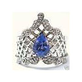 Fine Vintage Pear Shape Gem Tanzanite Diamond White Gold Jewelry Ring 14KT