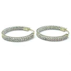 Natural Round Cut Diamond 2-Row Inside Out Hoop Earrings Yellow Gold 10KT 1.00Ct