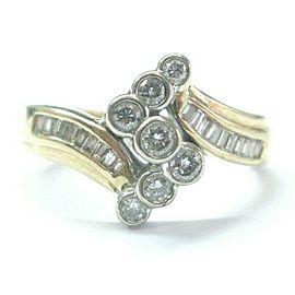 Natural Round & Baguette Diamond Criss Cross Yellow Gold Bezel Set Ring .50Ct