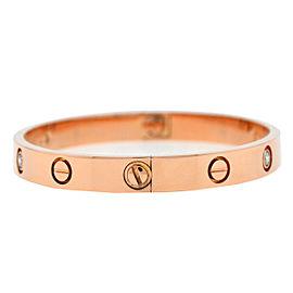 "Cartier 18k Rose Gold 4 Diamond LOVE Bracelet ""New Screw Style"" Size 16"