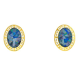 14k Yellow Gold Oval Blue Opal Mosaic Triplet Earrings