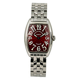 Franck Muller Cintree Curvex 7502QZ Lady's Quartz Watch SS Red Dial 29mm