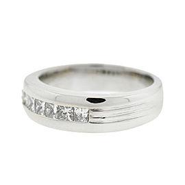 14k White Gold Princess Cut Diamond Men's Ring