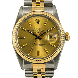 Rolex Datejust 16013 Mens Automatic Watch Champagne Dial 18k Two Tone 36mm
