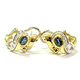 Ceylon Sapphire & Diamond Huggie Earrings Solid 18Kt Yellow Gold 1.25Ct + .23Ct